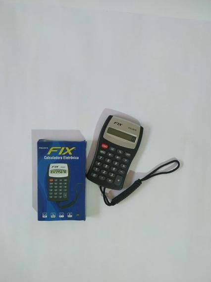 Calculadora Fix Com Cordão Preta Com Prata 8d