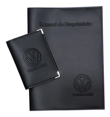 Imagem 1 de 7 de Kit Volkswagen Porta Manual E Porta Documentos Couro Eco