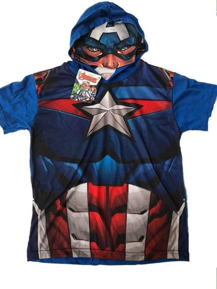 Remera Capitan America - Iron Man Hulk Con Capucha Disfraz