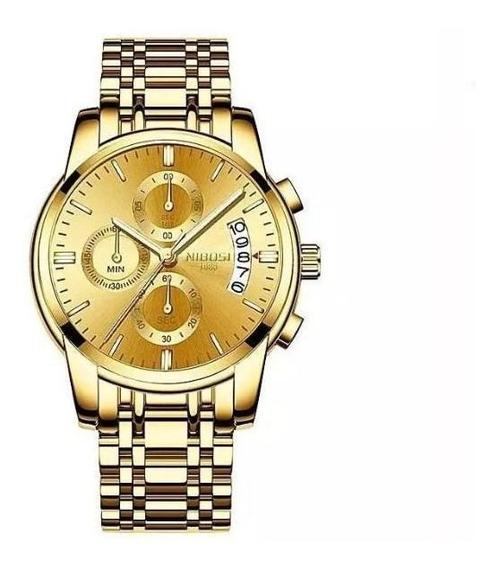 Relógio Nibosi Dourado Original Prova D