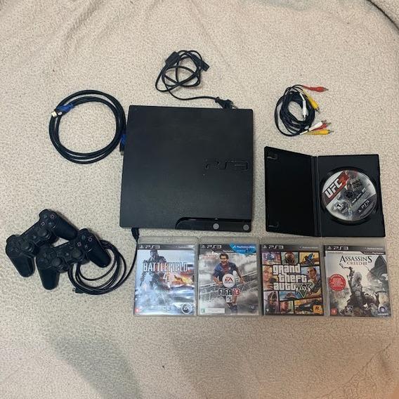 Ps3 Usado - Console, 1 Controle, 5 Jogos Cd E 2 Jogos No Hd