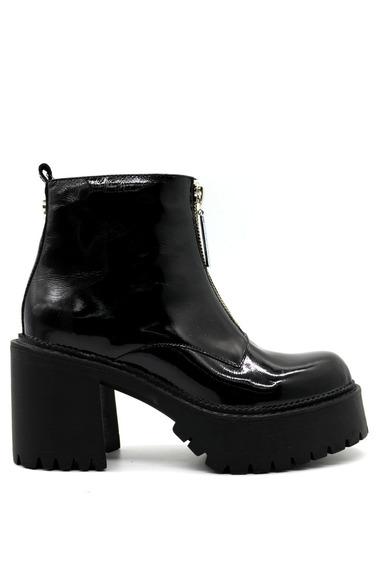 Zapatos Botas Botinetas Mujer Cuero Charol Negro Leblu 846