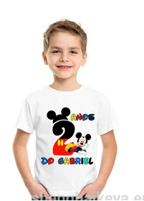 Camiseta Mickey Menino Aniversário Infantil