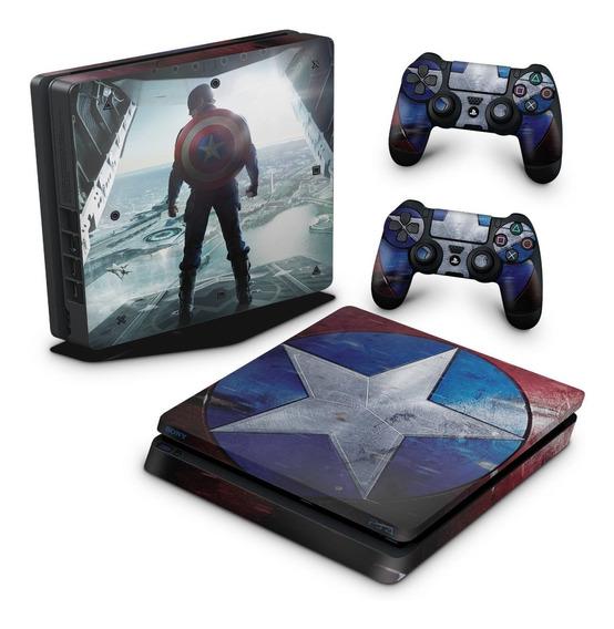 Skin Ps4 Slim Adesivo Playstation 4 Capitão America