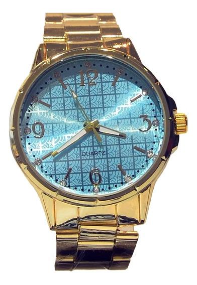 Relógio Quartz Em Metal Inoxidável Feminino - Ouro Com Azul