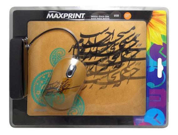 3x 609180 Mouse Ótico Usb Maxprint + Base Mouse C Nfe
