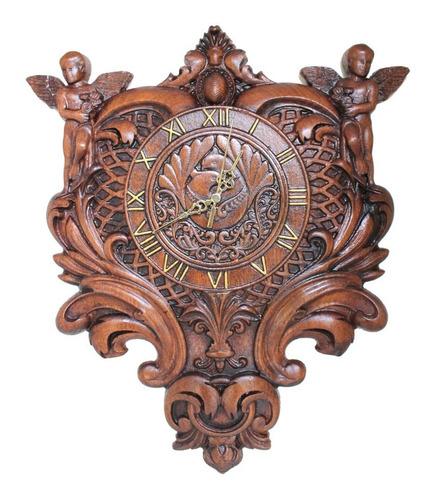 Relógio De Parede, Madeira Nobre, Barroco, Rústico