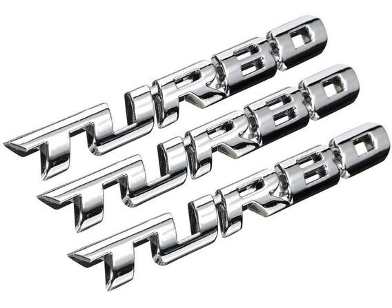 Emblema Logo Adesivo De Carro Turbo Cromado 3 Unidades