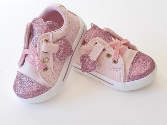 Tênis Infantil Sapato Menina Feminino 20 27 Coração Glitter