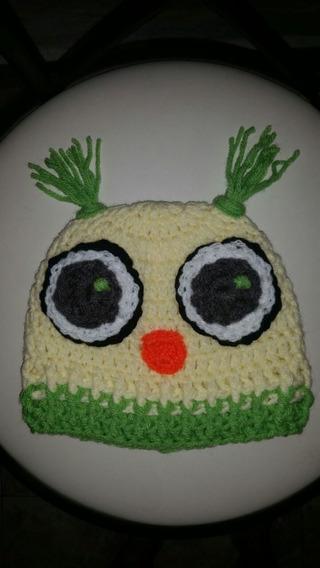 Gorro Lechuza Tejido A Mano En Crochet. Excelente Calidad.