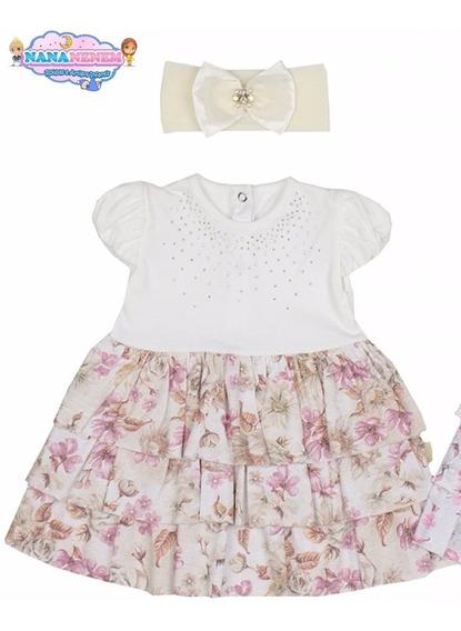 Vestido Paraíso Bebê Cotton Babado Floral E Faixa Cód: 410