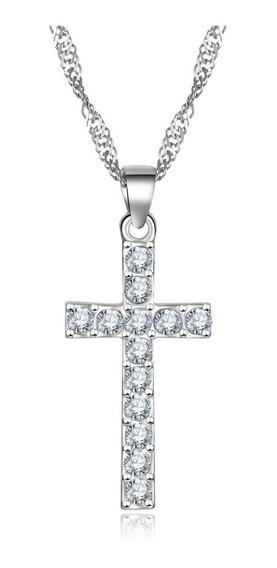 Colar Cordao Corrente Feminina Aço Inox Brilhante Crucifixo