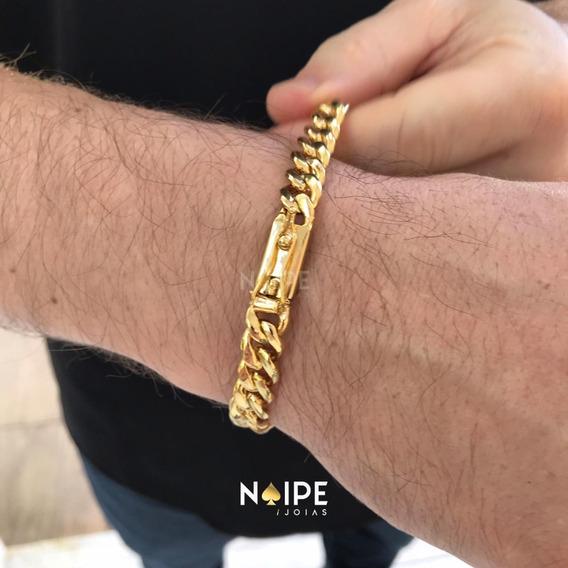 Pulseira 10mm Pitbul Grumet Masculina Banhada A Ouro 18k