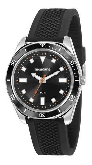 Relógio Mondaine Masc Prata C/ Pulseira Silicone Preto