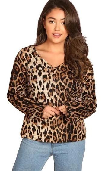 Blusa De Dama Sexy Casual Animal Print Estampado De Leopardo