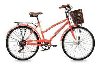 Bicicleta Olmo R26 Paseo 6v Dama Ameliet18 Coral