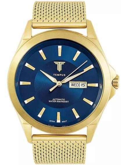 Relógio Masculino Tempus Elite Zw20127a Gold Blue