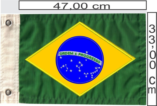 Bandeira Do Brasil Bordada Para Barcos, Motos, Triciclos