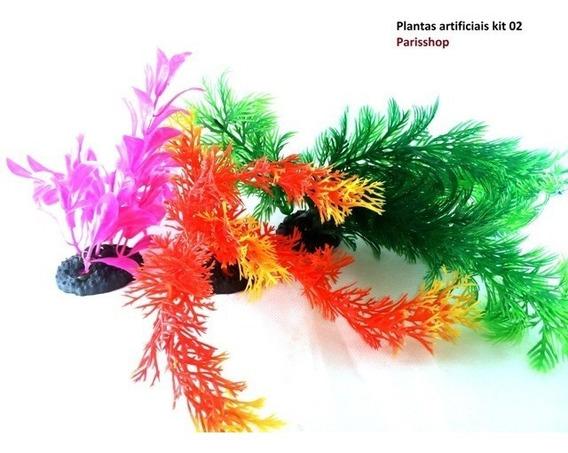Planta Ornamental P/ Aquário Artificiais 3 +1 Brinde