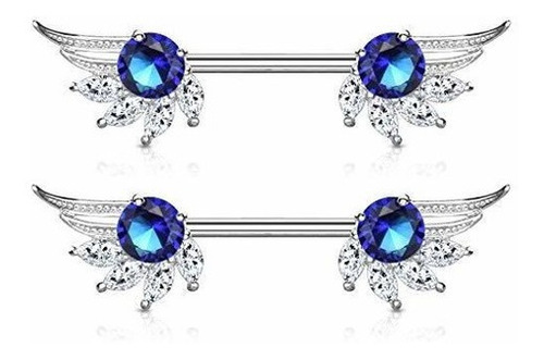 Imagen 1 de 6 de Piercing Para Pezon Con Forma De Buho Con Cristales De Circo