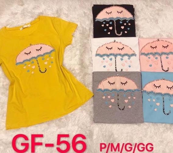 Blusa T-shirt Feminino Algodao Bordado Com Perolas Importado