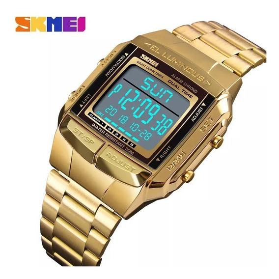 Relógio Skmei 1381 Dourado Retro Digital