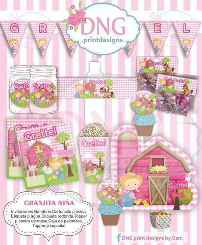 Kit Imprimible Granja Niña, Cumpleaños Granja, Decoración