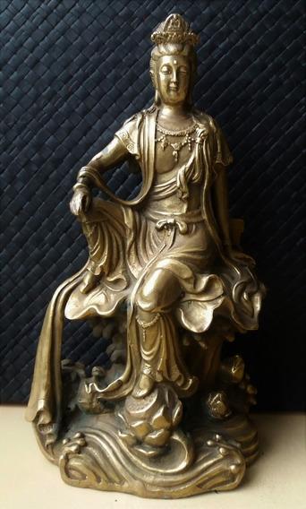 Antiga Rara Buda Estatua Bronze Dinastia Qing Munddibr 51