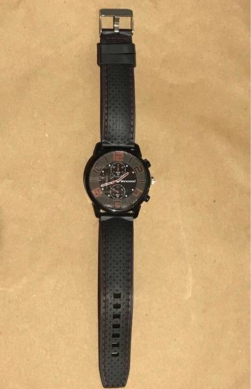 Relógio Sanwood Vermelho Com Pulseira Costurada