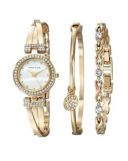 Relógio Anne Klein Goldtone Crystal Bangle Box Set