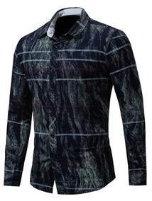 Tie Corante Impressão Longo Manga Camisa