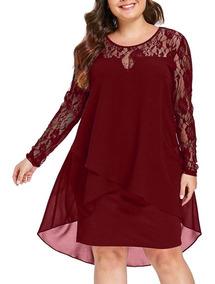Vestido De Fiesta Talla Grande Color Bordó 45