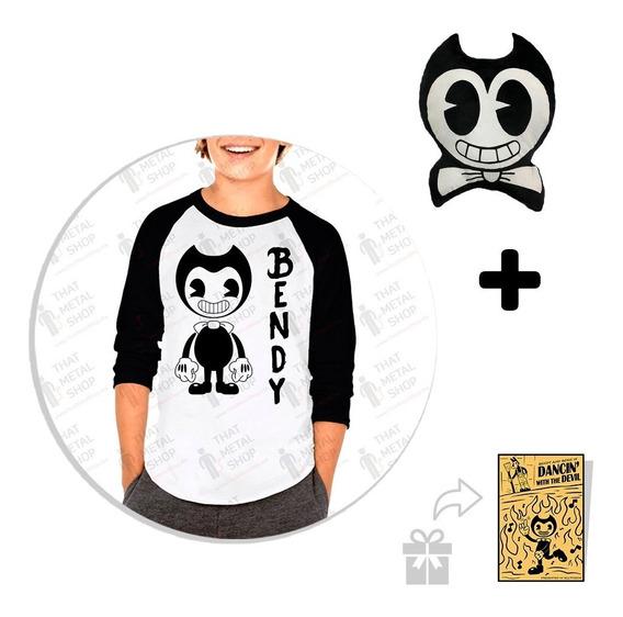 Kit Playera Raglan Niño Bendy Logo + Peluche + Sticker