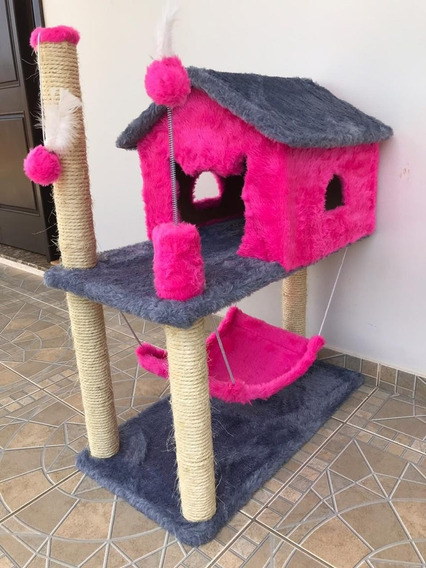 Arranhador Para Gato Casa E Rede Rosa