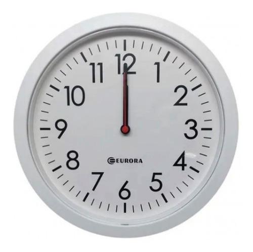 Imagem 1 de 4 de Relógio De Parede Eurora Cozinha Sala Branco 28cm 6575