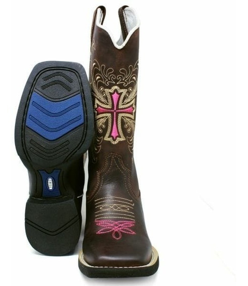 Bota Feminina Texana Country Bico Quadrado Cruz Cano Alto