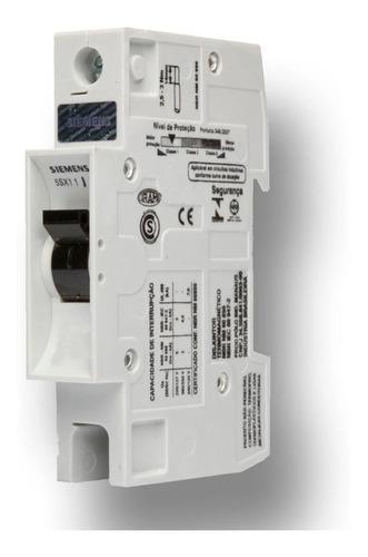 Mini Disjuntor Unipolar B10 1p Din Siemens 5sx1 220/380v