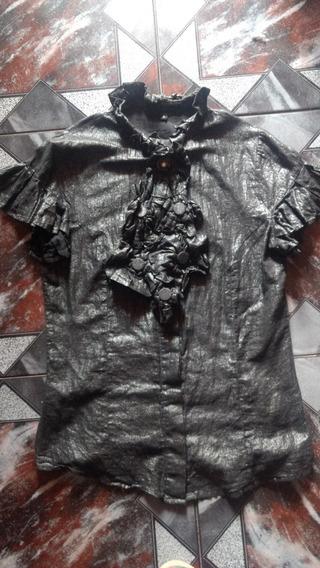 Camisa Jabot Desmontable Allo Martinez T2 Gris Metalizada