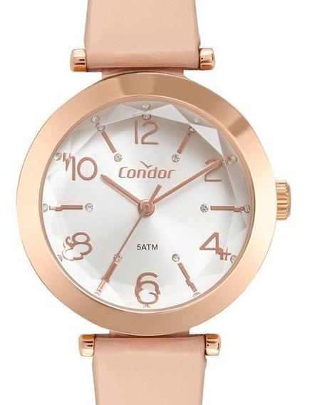 Relógio Feminino Condor Rose Luxo Pulseira Em Couro Facetado