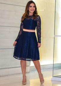 Vestido Renda Godê Azul Com Faixa Na Cintura Moda Evangélica