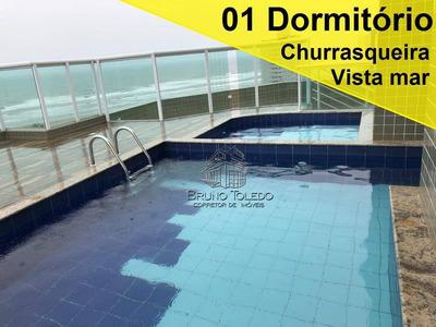 Apartamento 01 Dormitório À Venda, Mirim, Vista Mar E Churrasqueira Na Sacada - Ap0075