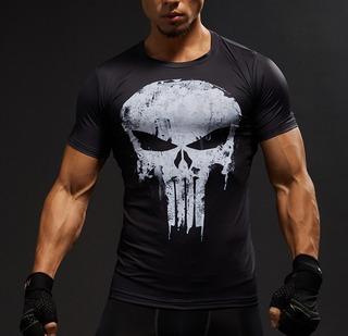 Camiseta Punisher 3d Compresion Gym Calavera Manga Corta