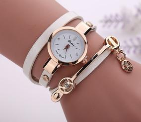 Relógio Feminino Pulso Cristal Quartzo Analógico - Branco