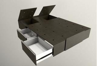 Cama Sommier 2 Plazas Box Con Cajones Corredera Telescopica Y Baulera 160x200 C/ Garantia Mobilarg