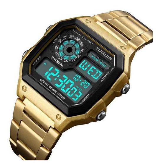Relógio Unissex Tuguir Digital Tg1335 Dourado Preto
