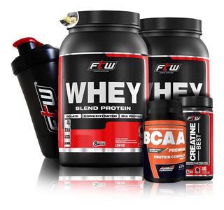 Kit 2x Whey Protein + Bcaa + Creatina + Brinde