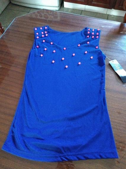 Musculosa Abody En Tul Con Tachas Azul/coral T S/m