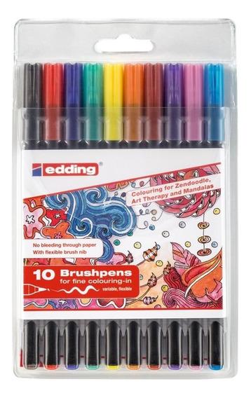 Marcador Para Papel Punta Pincel Edding 1340 Set 10 Colores