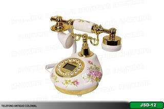 Teléfono Modelo Antiguo Colonial Con Pantalla Digital Blanco