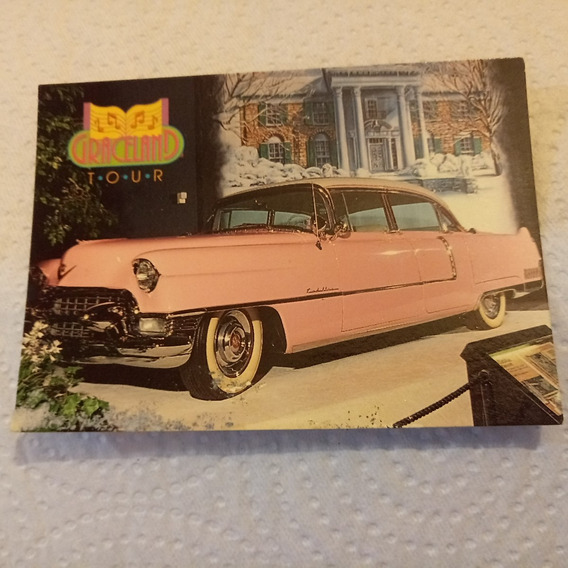 Elvis Card Tarjeta Del Cadillac Rosa En Graceland